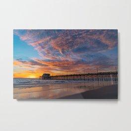 Painted Sky Over Newport Pier Metal Print