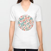bedding V-neck T-shirts featuring Shabby Chic Hibiscus Patchwork Pattern in Peach & Mint by micklyn