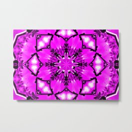 Eastern Redbud And The Bee Kaleidoscope Neon Pink Metal Print