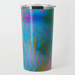 Analogue Glitch Electric Gradient Waves Travel Mug
