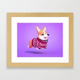 Holiday Corgi Framed Art Print