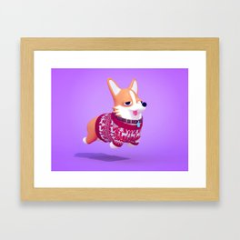 Holiday Corgi Framed Art Print