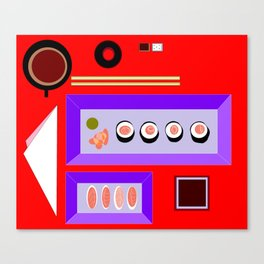 A Sushi Dinner with Tea Canvas Print