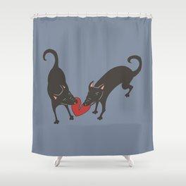Black Dog Heartbreak Shower Curtain