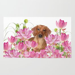 Dog in Field of Lotos Flower Rug