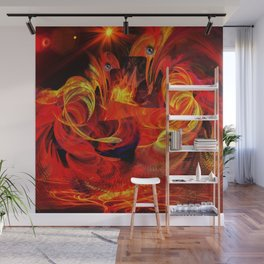Two fiery rooster Wall Mural