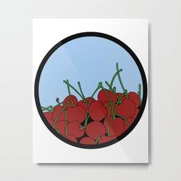 Cherries in a Bowl (Black Ring) Metal Print