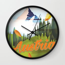Austrian Landscape travel poster, Wall Clock