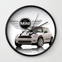 mini cooper Wall Clocks featuring Mini White Cooper by McGrathDesigns