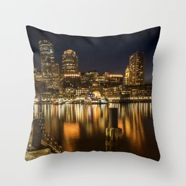 BOSTON Fan Pier Park & Skyline at night Throw Pillow