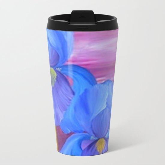 Blue Iris Metal Travel Mug