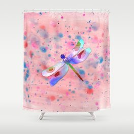 Pastel Watercolor Dragonfly Shower Curtain