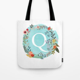 Personalized Monogram Initial Letter Q Blue Watercolor Flower Wreath Artwork Tote Bag