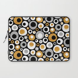Mid Century Modern Circles in Black, White, Gold and Silver Laptop Sleeve