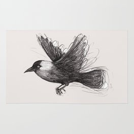 Flying jackdaw Rug