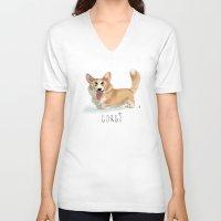 corgi V-neck T-shirts featuring CORGI by nachodraws