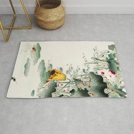 Frog in the swamp  - Vintage Japanese Woodblock Print Art Rug