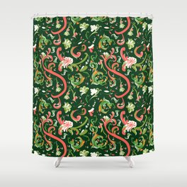 Swirly Trendy_Green Shower Curtain