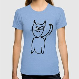 Inky Kitty Continuous Line Art Minimalist Cat T-shirt