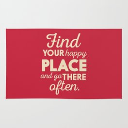 Find your happy place, wanderlust quote, traveling, explore, go on an adventure, world is yours Rug
