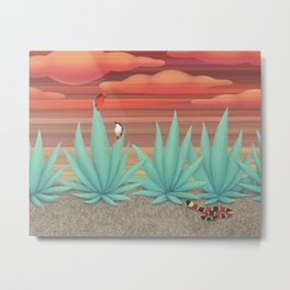 vermilion flycatchers, agave americana, & coral snake Metal Print