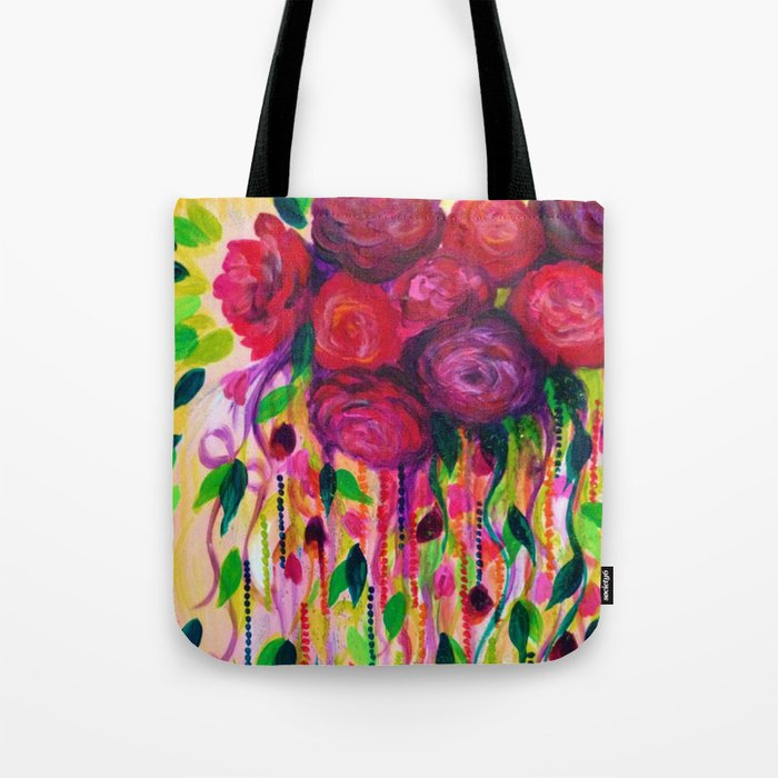 Roses Are Rad Bold Fun Red Roses Floral Bouquet Vines Flowers Abstract Acrylic Painting Fine Art Tote Bag By Ebiemporium