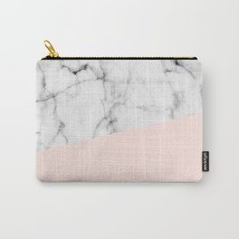 Real White marble Half Salmon Pink Carry-All Pouch