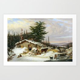 Cornelius Krieghoff Settler's Log House Art Print