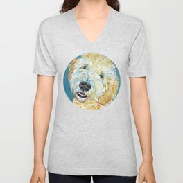 Stanley the Goldendoodle Dog Portrait Unisex V-Neck