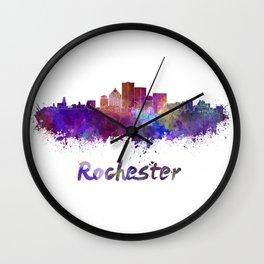 Rochester skyline in watercolor Wall Clock