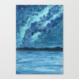 """""""Sea Glass Galaxy"""" watercolor landscape painting Canvas Print"""