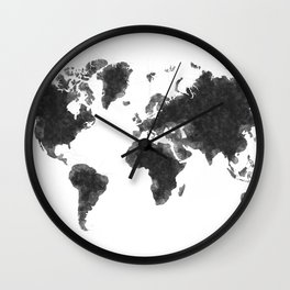 World Map Black Sketch, Map Of The World, Wall Art Poster, Wall Decal, Earth Atlas, Geography Map Wall Clock