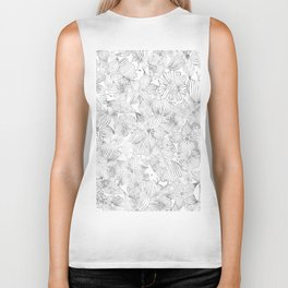 Hand painted black white watercolor tribal floral Biker Tank