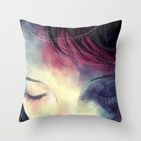sleep Throw Pillows featuring Sleep  by margaw