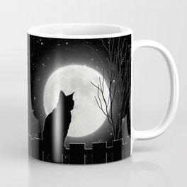 Silent Night Cat and full moon Coffee Mug