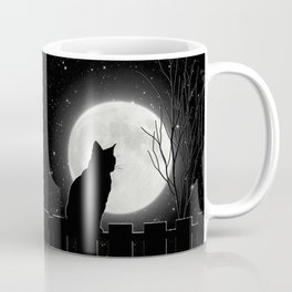 Silent Night Cat and full moon Coffee Mug