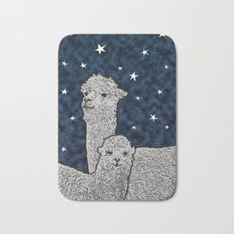 Alpacas on a starry night Bath Mat