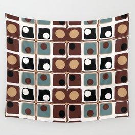 Chocolate And Blue Minimalist Geometric Wall Tapestry