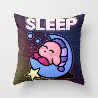kirby Throw Pillows featuring Kirby Sleep by likelikes