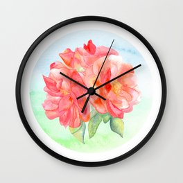 Watercolor Roses Wall Clock