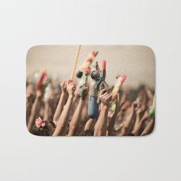 Happy young people with water guns Bath Mat