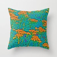 weed Throw Pillows featuring Weed Patch by Anne Millbrooke