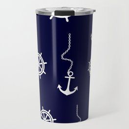 Nautical Navy Pattern with Anchors and Steering Wheels Travel Mug
