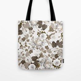 Beige Floral Tote Bag