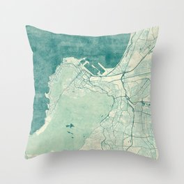 Cape Town Map Blue Vintage Throw Pillow
