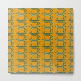 Teacups - ochre and teal Metal Print