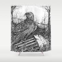 hawk Shower Curtains featuring Backyard Hawk by miranda mcguire
