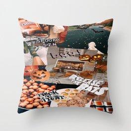 orange halloween wallpaper Throw Pillow