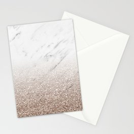 Glitter ombre - white marble & rose gold glitter Stationery Cards