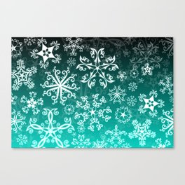 Symbols in Snowflakes on Winter Green Canvas Print